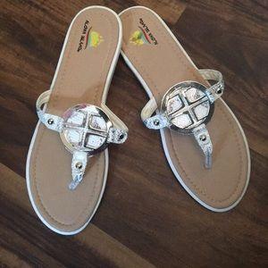 Silver Snakeskin Sandals-12